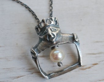 medieval royal crowned king necklace with a pearl charm … strength, wisdom, power - sterling silver medieval buckle jewelry