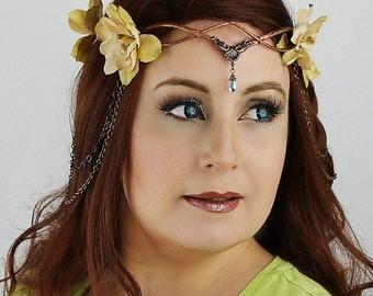 SALE 30% off, Flower Crown Copper & Tan, Floral Crown, Headpiece, Wedding Headpiece, Wedding Accessory, LOTR, Cosplay, Fairy