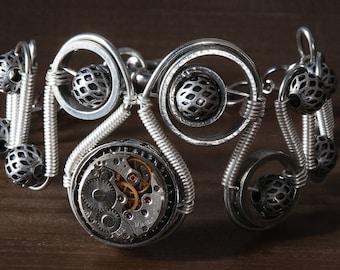 Steampunk Bracelet - Silver Watch Movement