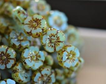 Little Waterlily - Czech Glass Beads, Aqua Blue Opaline, Picasso Hibiscus Flower 10mm - Pc 6