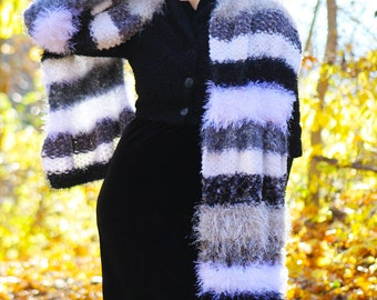 """Luxury Hand-Knit Doctor Who Scarf """"Two Doctors"""" Scarf in Black, White, and Grey, Long, Striped, Multi-Textured, Fuzzy, Soft, Warm! OOAK"""