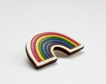 Rainbow Brooch, Wooden Brooch, Hand Painted, Sustainable Birch Wood, Made in Brighton, uk