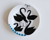 Girl among swans plate