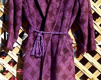 Vintage BEACON BLANKET ROBE Checkered Diamonds Lavender