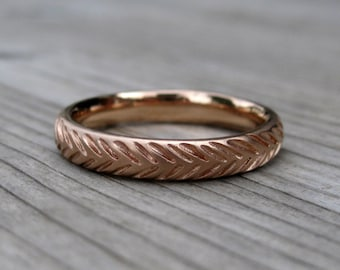 Feather Wedding Band: White, Yellow, or Rose Gold; 3.5mm Wide