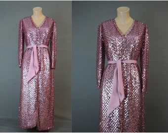 1960s Pink Sequin Dress Evening Gown, 34 bust, Agnes K Vintage Party Dress