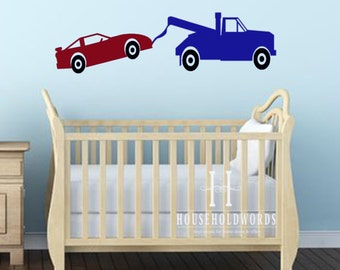 """Tow Truck and Car Vinyl Wall Decals Boys Bedroom Vehicle Decor, 11"""" tall X 40"""" long, Construction Theme, Kids playroom Wall Decals"""