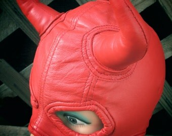 Red Lambskin Leather Half Mask with Devil Horns