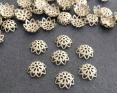Antique Silver Plated Brass Filigree Bead Caps 50 pcs, Bead Caps 11 mm, Jewelry Making Suppplies Bead Caps