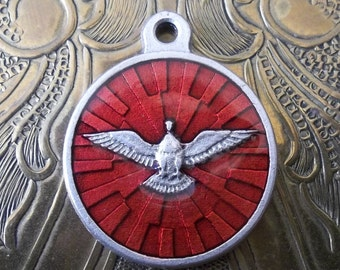 Silver Religious Medal With Ruby Red Enamel Holy Ghost Spirit Dove, Italian Catholic Medal, Circa 1960's, Wisdom Counsel Fortitude Piety