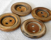 Set of 3 Large VINTAGE Brown Sew Thru Wood BUTTONS