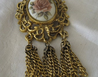 VINTAGE Rose Flower Glass in Metal with Tassel Costume Jewelry Brooch