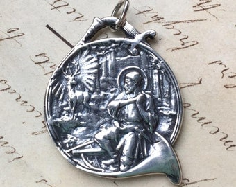 Large St Hubert Medal - Patron of hunters  - Antique Reproduction