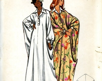 Butterick 3134 Misses Caftan Dress Ankle Length with Collar Size Large 16 18 Uncut Vintage Sewing Pattern 1970s