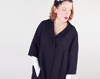 50s Elegant Black Silk Coat - Bullocks Wilshire Label L XL
