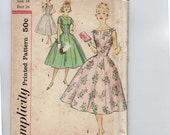 1960s Vintage Sewing Pattern Simplicity 2494 Misses Princess Seam Full Skirt Dress Sleeveless Party Size 14 Bust 34 UNCUT