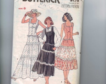 1970s Vintage Sewing Pattern Butterick 6053 Misses Tiered Skirt Sundress Size 8 Bust 31 1/2 UNCUT  99