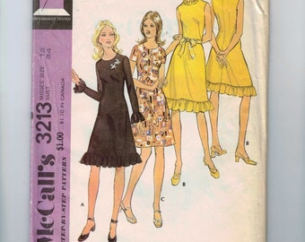1970s Vintage Sewing Pattern McCalls 3213 Misses A Line Dress with Ruffled Hemline and Neckline Size 12 Bust 34 1972 UNCUT