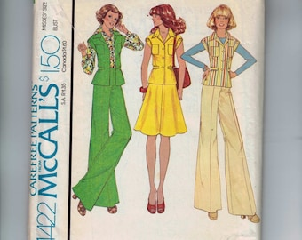 1970s Vintage Sewing Pattern McCalls 4422 Misses Top Skirt and Wide Leg Pants Size 16 Bust 38 1975 70s