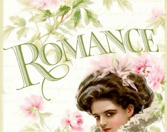 Romance and Pink Roses Vintage Harrison Fisher girl Large digital download  Printable BUY 3 get one FREE ecs svfteam