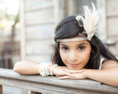 Flapper Headband - Great Gatsby Headpiece - Feather Headband - Feather Fascinator - Headpiece - Silver Headband - Hair Accessory