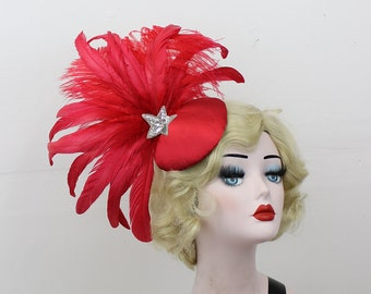Art Deco Cocktail Hat, Red Feather Fascinator, Showgirl Headpiece, Ascot Races, Kentucky Derby, Burlesque Costume,