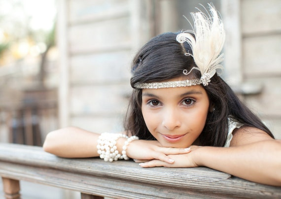 Flapper Headband, Great Gatsby Headpiece, Peacock Feather Headband, Ivory Feather Fascinator, Silver Headband, Hair Accessory, Bridesmaids