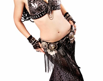 Halter, A, B, C, D or DD Cup, Black and Silver, Faux Assuit, Bellydance, Costume, Tribal, Fusion, Sequins, Gothic, Circus, Carnival, Bra