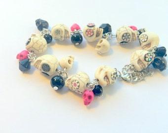 Day of the Dead Sugar Skull Adjustable Chain Bracelet Black White Pink Flowers