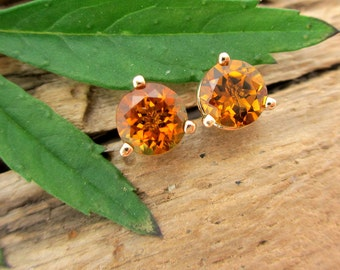 Sunset Tourmaline Earrings in Gold with Genuine Gems, 5mm