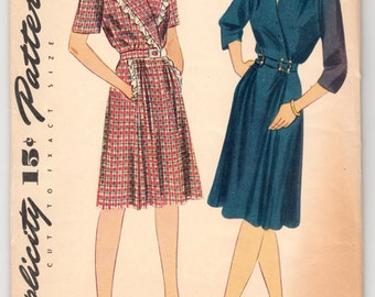 Original Vintage Sewing Pattern Simplicity 4907 Ladies' Wrap Dress 1940's 32 Bust - With FREE Pattern Grading E-Book Included