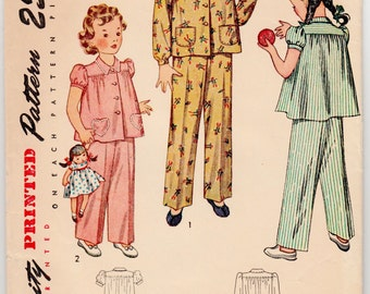 Vintage Sewing Pattern Little Girl's Pajamas 1930's Simplicity 2054 Size 4