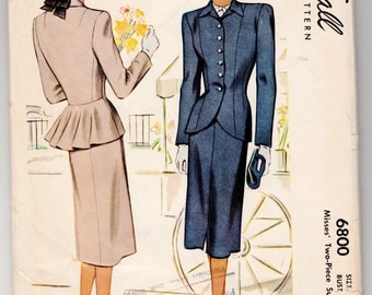 """Vintage Sewing Pattern 1940's Ladies' Suit Jacket and Skirt 34"""" Bust McCall 6800 - With FREE Pattern Grading E-book"""