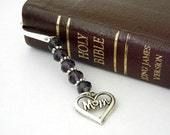 Mom Bookmark with Purple Glass Beads Silver Color Shepherd Hook Steel Bookmark