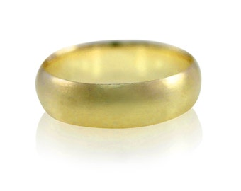 Mens Wedding Band, 6mm Wide Brushed Wedding Ring in Recycled 14k Yellow Gold, 14k White Gold or Palladium, Size 10 Ring or Your Size