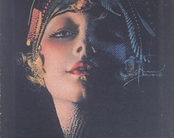 Rolf Armstrong Flapper Portrait 20's Painting Print on Canvas Ready to Hang