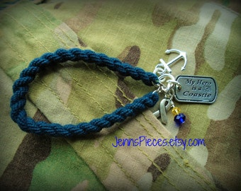 BRACELET My Hero Is A SAILOR or COASTIE Boot Band Blouser Bracelet SSG113 Military Coast guard navy submarine anchor boat uscg JennsPieces