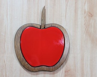 Vintage 60's Woodcrest by Styson Ceramic and Wood Apple Cheese Board