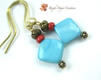 Turquoise Aqua Blue Shell Earrings, Summer Earrings, Beach Jewelry, Mother of Pearl, Red Glass, Antique Brass Beads, Boho Dangles  E449