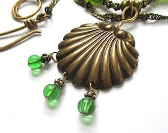 Long Green Necklace, Antique Brass Shell Pendant, Aqua Blue Lampwork Green Glass, Multi Strand Necklace, Beach Jewelry, Summer Trend N306