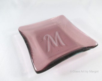 Monogramed Purple Small 4 Inch Square Monogramed Plate Fused Glass Trinket Ring Dish