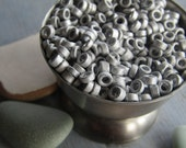 silver  ceramic seed beads , mini small matte opaque ceramic beads,  rondelle tube  delicate spacer  3mm dia  ( 10 grams bag ) 6asmr3-2
