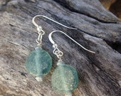 Authentic Blue Roman Artifact Glass and Sterling Silver Earrings Teal
