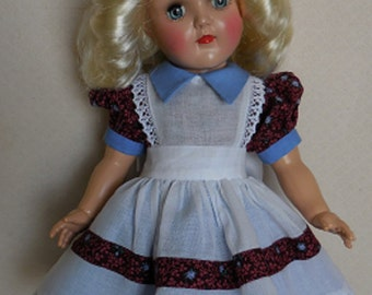 "For 16"" P-91 Ideal Toni Doll - One of a Kind Pinafore Dress Inspired by Original"