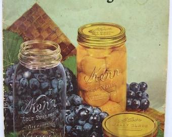 Vintage 1950 Kerr Home Canning Book Advertising Illustrated Recipes Booklet, Vintage Canning Jars, Advertising Cooking Booklet, Color Illus