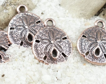 Antique Copper Sand Dollar Charms TierraCast Pewter Copper Charms Sanddollar Pendant 17mm x 21mm Beach Charms Nautical (P1295)