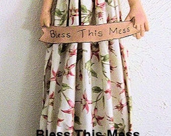 Primitive Folk Art Bless This Mess Angel Bag Doll Instant Download PDF Epattern Sewing and Painting Pattern by Edna Bridges