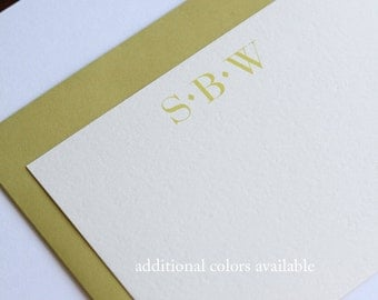 Monogrammed Note Cards, Set, Stationery, Personalized Note Card, Flat Note Cards, Bridesmaids' Gift, Groomen's Gift
