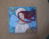 Angel Painting Original Mixed Media Folk Art Painting Butterfly Bird Flowers Sealed with beeswax