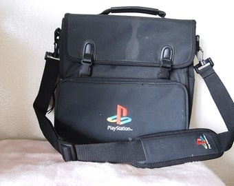 PLAYSTATION // Vintage 90s Black Messenger Bag Fixer Upper Laptop Case Video Game Swag E3 Satchel 1990s PSX Retro Gaming Cyberpunk